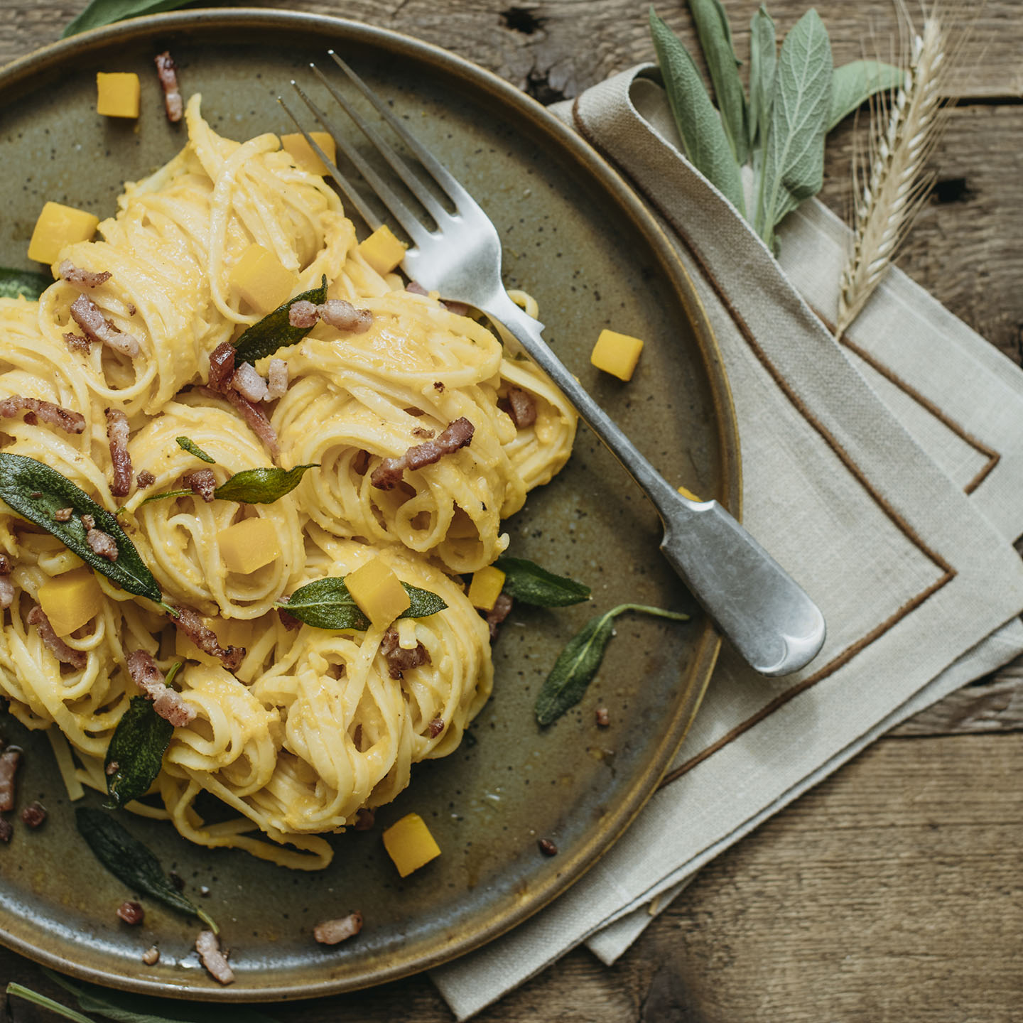 Le Moulin - Les recettes - Linguini with squash, bacon and sage