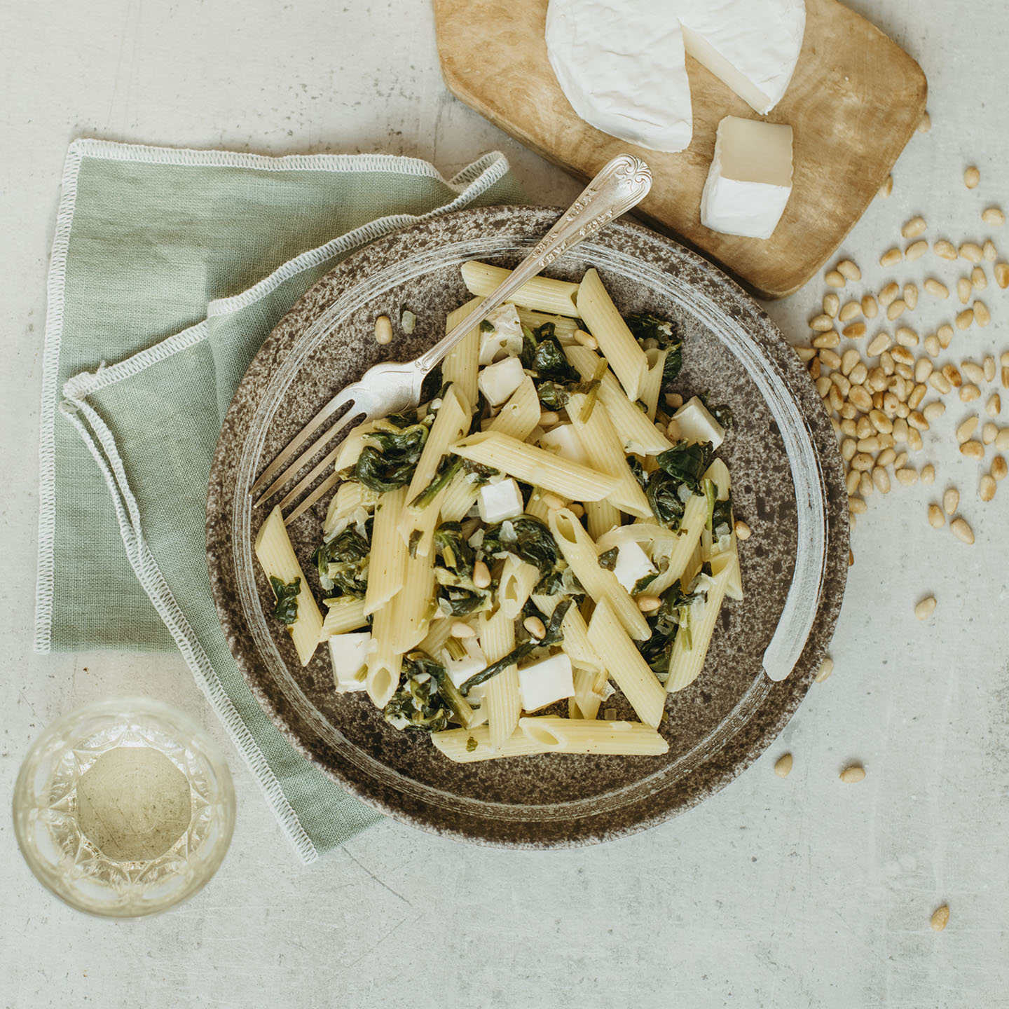 Le Moulin - Les recettes - Penne with goat's cheese and spinach