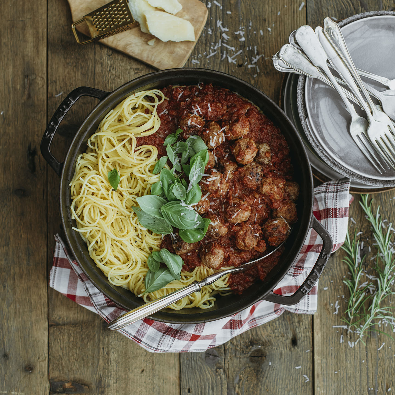 Le Moulin - Recettes - Spaghetti mat Fleeschbulletten