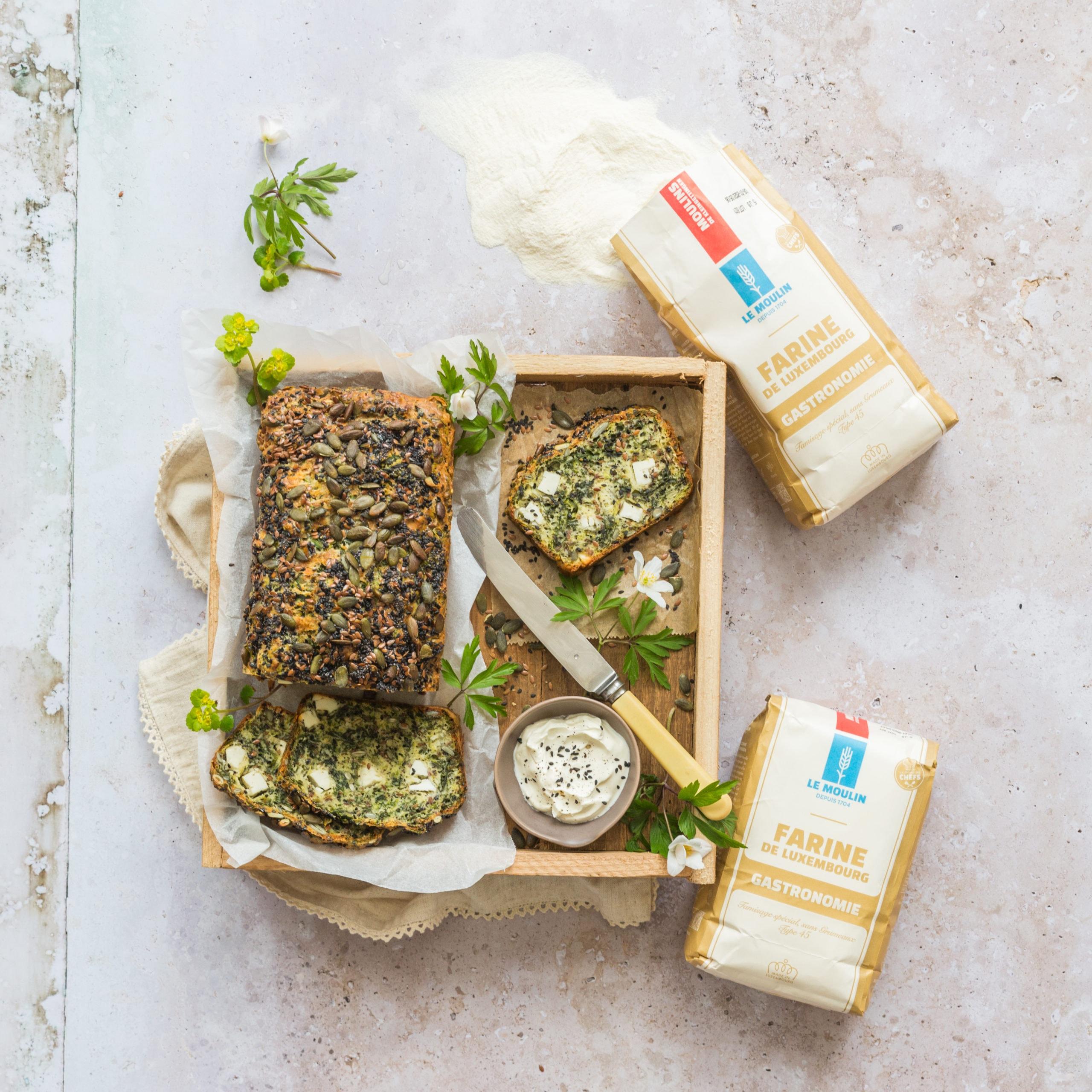 Le Moulin - Recettes - Gehäerzte Cake mat Spinat a Feta